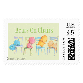 Blue, Pink, Yellow, and Brown Bears Play Postage Stamp
