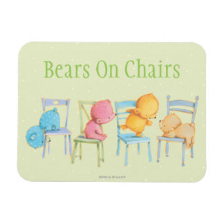 Blue, Pink, Yellow, and Brown Bears Play Rectangular Photo Magnet