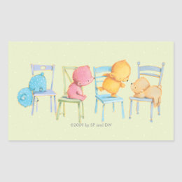 Blue, Pink, Yellow, and Brown Bears Play Rectangular Sticker
