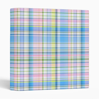 Blue Pink Yellow Wht Preppy Madras Binder