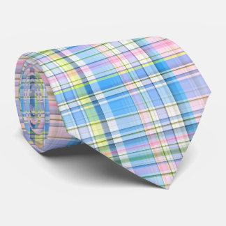 Blue Pink Yellow Wht Preppy Madras Neck Tie