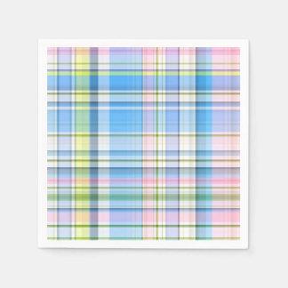Blue Pink Yellow Wht Preppy Madras Paper Napkin