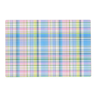 Blue Pink Yellow Wht Preppy Madras Placemat