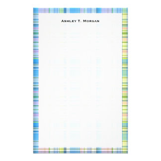 Blue Pink Yellow Wht Preppy Madras Stationery