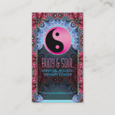 Blue Pink YinYang New Age Yoga Business Cards
