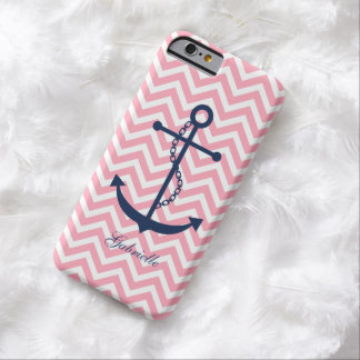Blue & Pink Zigzags Pattern Anchor Barely There iPhone 6 Case