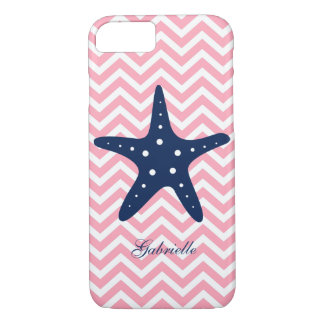 Blue & Pink Zigzags Pattern Starfish iPhone 7 Case