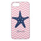 Blue & Pink Zigzags Pattern Starfish iPhone 8/7 Case