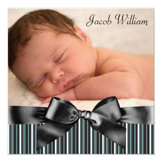 Blue Pinstripe Baby Boy Photo Birth Announcement