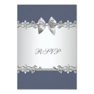 Blue Pinstripe Blue Silver Baby Boy Shower RSVP Card