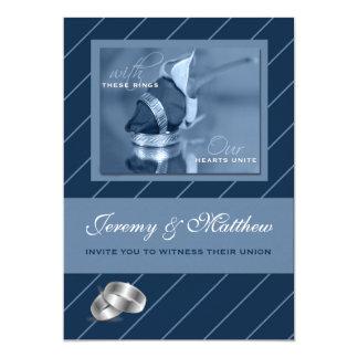 Blue Pinstripe Gay Wedding Invitation