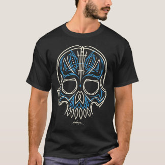 blue pinstripe skull - front only T-Shirt