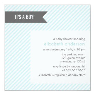 Blue Pinstripes Baby Shower Invitations