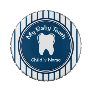 Blue Pinstripes Baby Tooth Fairy Tin Jelly Belly Tins