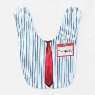 "Blue Pinstripes, Red Power Tie, ""Trump Jr."" Tag Baby Bib"