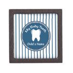 Blue Pinstripes Tooth Fairy Box Premium Keepsake Box