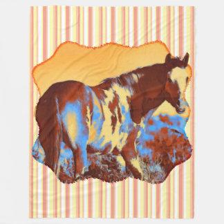Blue Pinto Horse Fleece Blanket