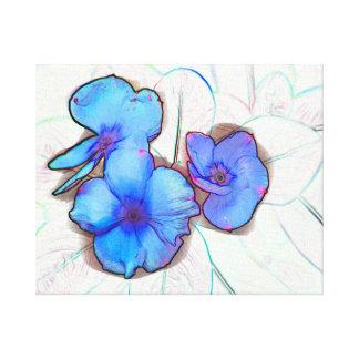 blue pinwheel flower sketch canvas print