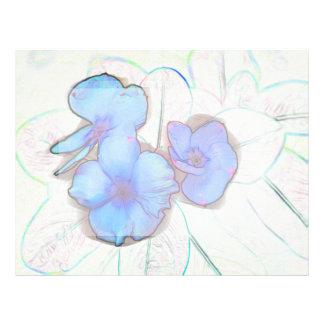 blue pinwheel flower sketch letterhead