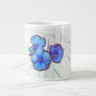 blue pinwheel flower sketch 20 oz large ceramic coffee mug