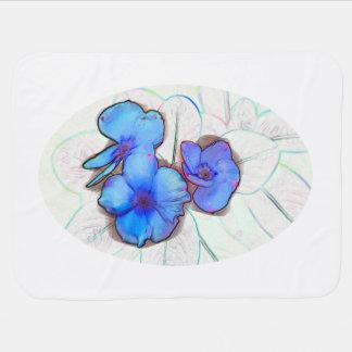 blue pinwheel flower sketch swaddle blanket