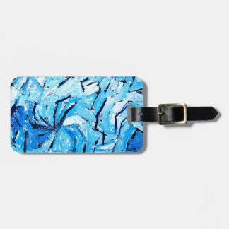 Blue Pinwheels ( abstract expressionism ) Bag Tag