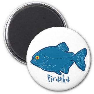 Blue Piranha Magnet, Keychain & Button 2 Inch Round Magnet