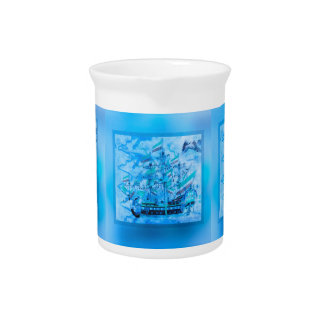 Blue Pirate Ship Nautical Ocean Waves Pitchers