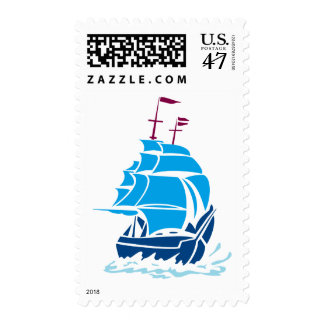 Blue Pirate Ship postage