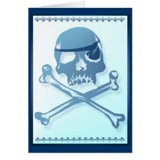 Blue Pirate Skull and Crossbones.Card Card