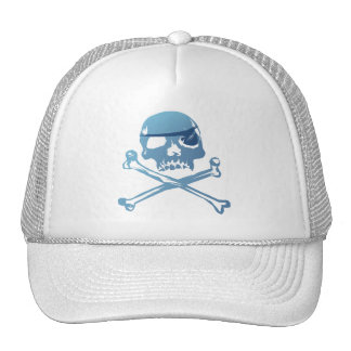 Blue Pirate Skull and Crossbones.Hats Trucker Hat