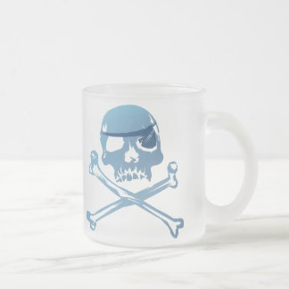 Blue Pirate Skull and Crossbones.Mugs Frosted Glass Coffee Mug