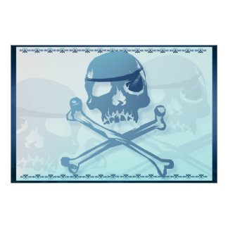 Blue Pirate Skull and Crossbones.Posters Poster