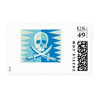 Blue Pirate Skull and Crossbones Stamp