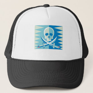 Blue Pirate Skull and Crossbones Trucker Hat