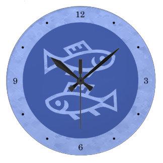 Blue Pisces Zodiac Large Clock