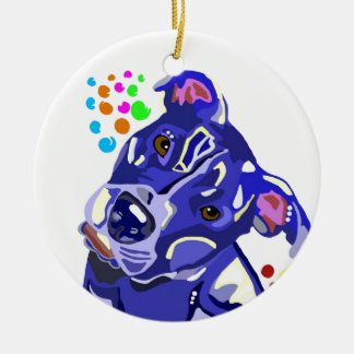Blue Pit Bull Terrier Christmas Tree Ornament
