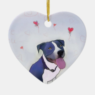 Blue Pit Good Dog Ceramic Ornament