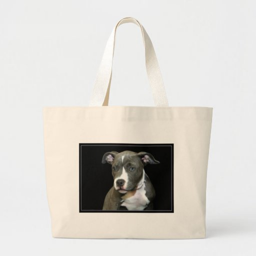 Blue Pitbull Puppy Canvas Bags