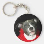 Blue Pitbull Puppy Keychain