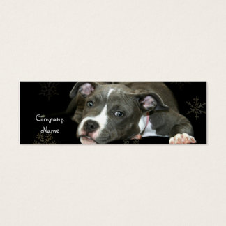 Blue Pitbull Puppy Skinny Business Cards