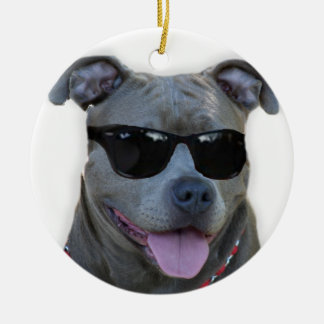 Blue pitbull with glasses ornaments