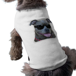 Blue pitbull with glasses tee
