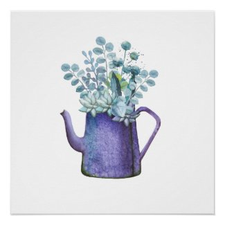 Blue Pitcher With Flowers Watercolor Poster Print