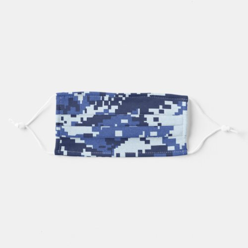 Blue Pixel Camouflage Cloth Face Mask