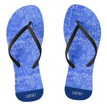 Blue Pixel Flip Flops