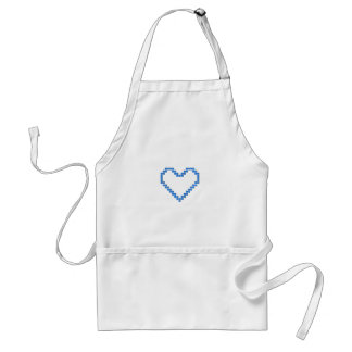 Blue Pixel Heart Adult Apron