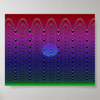 Blue Pixel Sundown #7 Poster
