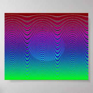 Blue Pixel Sunset #1 Poster