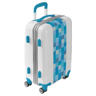 Blue Pixelated Pattern Luggage